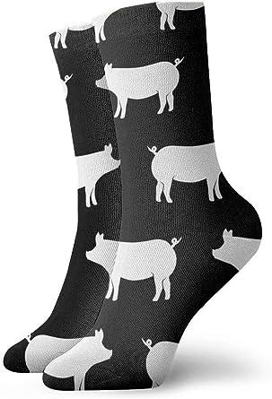 Just Pigs Calcetines Negros para Hombre Calcetines Divertidos de Algodón para Hombres Calcetines Lindos para Vestir para Vacaciones Deportivas: Amazon.es: Ropa y accesorios