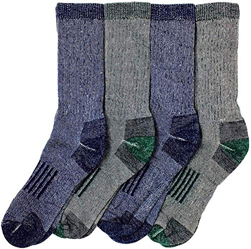 Kirkland Signature Mens Outdoor Trail Socks Merino Wool Blend 4 Pairs, (Blue, Black), Large (Shoe Size 10-13)