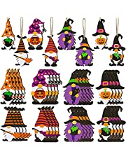 lskull 40 Pieces 8 Styles Halloween Ornaments Halloween Wood Gnome Ornaments?Colorful Gnome with Hat Wooden Hanging Tag with Rope?Wooden Gnome Tags for Home Door Window Shelf Tree Pendant Decor