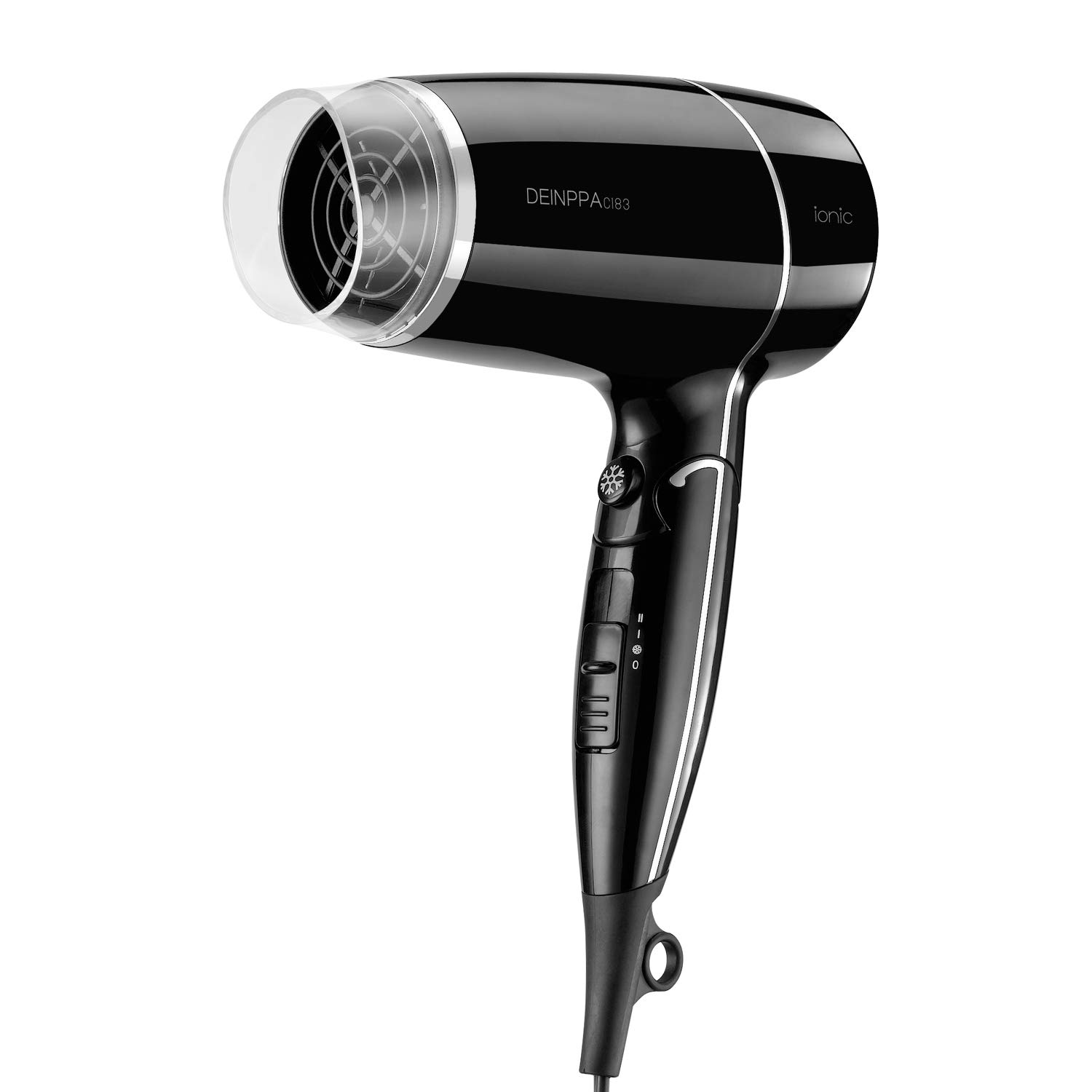 Deinppa Ionic Travel Hair Dryer Compact 1875 Watt Lightweight Blow Dryer with Folding Handle