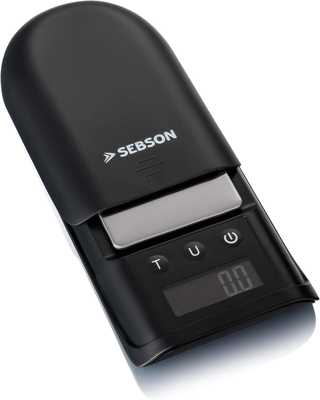 SEBSON Báscula de Precisión 0,1g / 750g digital, Báscula de Bolsillo con plataforma de acero inoxidable, Pequeña y compacta 119x73x20mm