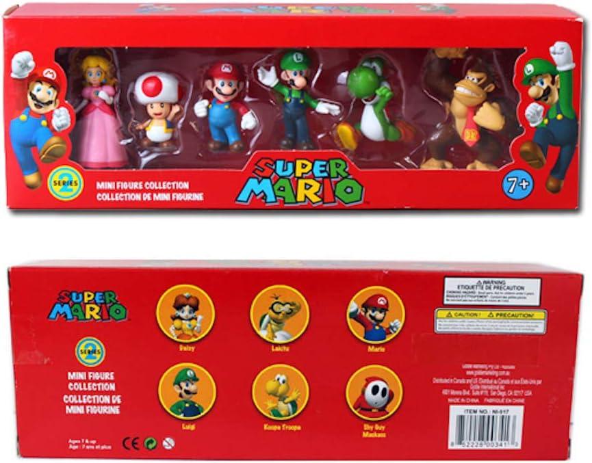 Super Mario série 3-Set de 6 Mini Figure Collection Mario Yoshi Jouet Cadeau
