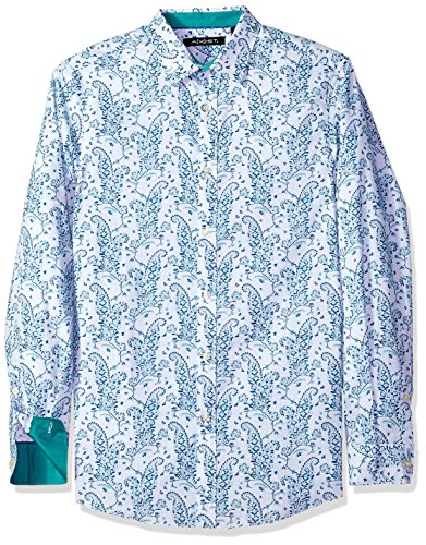 AXIST Men's Long Sleeve Slim Paisley on Printed Check Woven, Monaco Blue, Medium