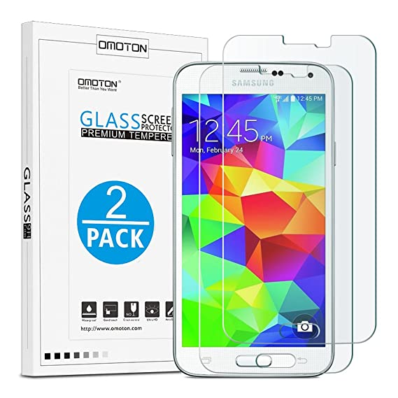 newest collection ac7b6 fc04f OMOTON Samsung Galaxy S5 Glass Screen Protector [2 Pack] - [2.5D Round  Edge] [9H Hardness] [High Definition] [Bubble Free] Tempered Glass Screen  ...
