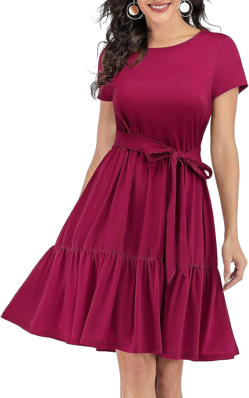Gardenwed Women's Summer Casual T-Shirt Loose Dresses Short Sleeve Swing Dress