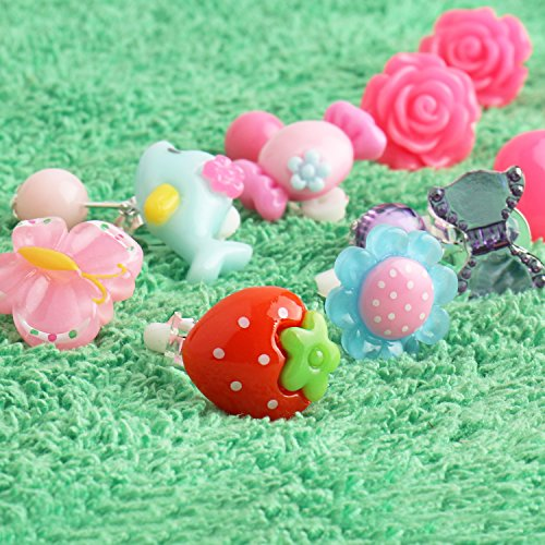 21 Pairs Clip-on Earrings Girls Play Earrings With Different Styles For Party Favor, All Packed in 3 Clear Boxes