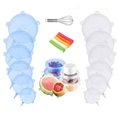 Silicone Stretch Lids - 12 Pack Reusable Silicone Lids with 2 Bonus, Silicone Food Covers Fit for Various Sizes and Shape of Containers, Durable and Expandable Food Covers to Keep Food Fresh By Aufisi