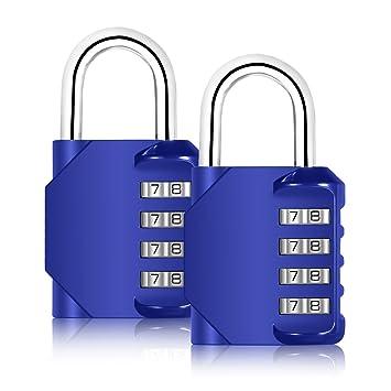 Blingco Lot de 2 cadenas à combinaison 4 chiffres Cadenas antirouille Lot  de cadenas de sécurité e8cdc3f5fa5