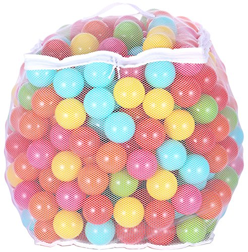 BalanceFrom 2.5-Inch Phthalate Free BPA Free Non-Toxic Crush Proof Play Balls Pit Balls- 6 Bright Colors in Reusable and Durable Storage Mesh Bag with Zipper (400-Count) -