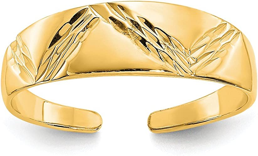 REAL 14k Solid Yellow Gold Open Hearts Toe Ring Polished Body Jewelry