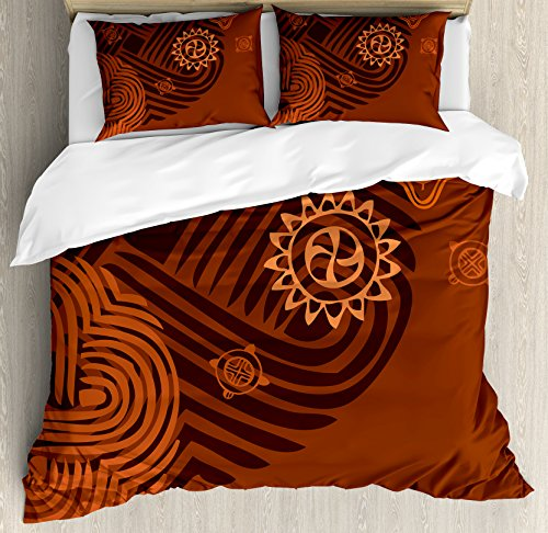 Earth Duvet Cover Set (Earth Tones Duvet Cover Set Queen Size by Ambesonne, Artistic Ethnic Composition with Floral Intricacy African Folk Details, Decorative 3 Piece Bedding Set with 2 Pillow Shams, Brown Orange Peach)