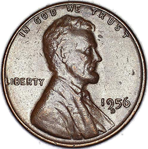 1956 D Mint Mark Touching 9 Lincoln Wheat Cent Very Fine