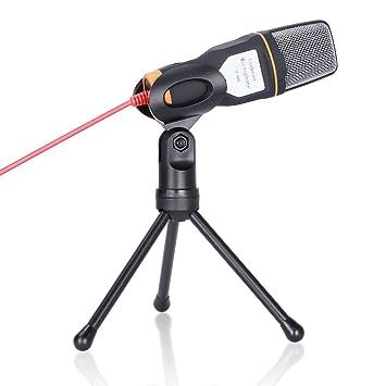 GHB Micrófono Condensador Profesional con Cable 3.5mm para PC / Ordenador Portátil con Soporte Trípode -Negro: Amazon.es: Electrónica