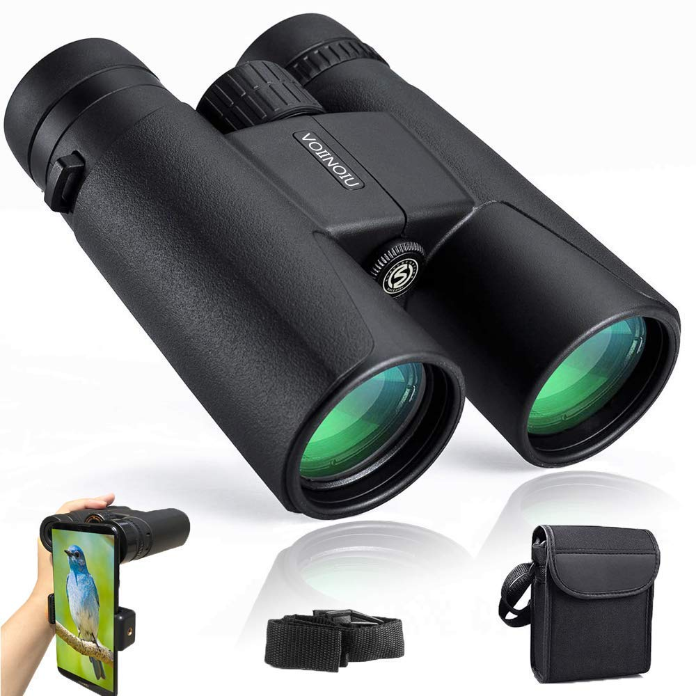 Binoculars for Adults Compact,12x42 HD Professional Binocular with Clear Weak Light Night Vision,Easy Focus Binoculars for Birds Watching,Concerts,Outdoor Hunting,Travel with Phone Adapter by Voiinoiu