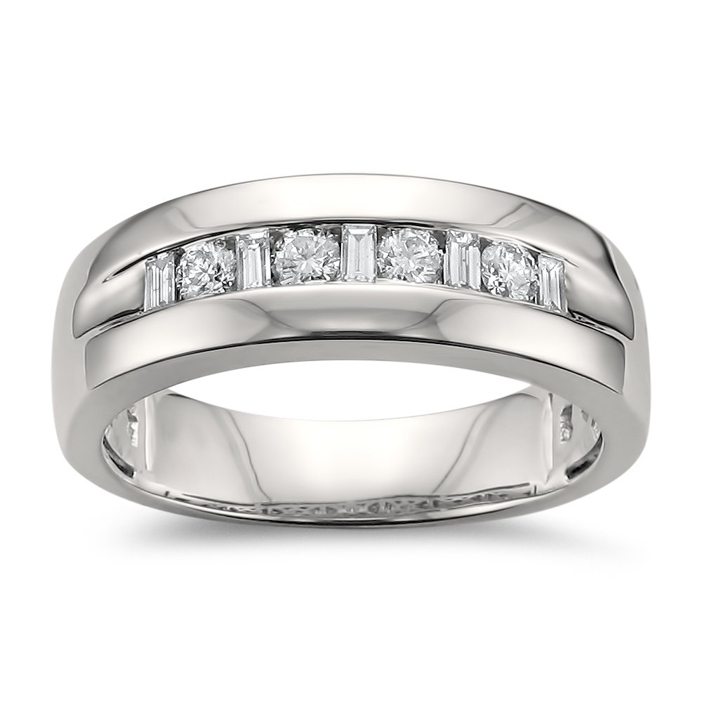 14k White Gold Baguette & Round Diamond Men's Comfort Fit Wedding Band Ring (1/2 cttw, H-I, SI1-SI2), Size 9