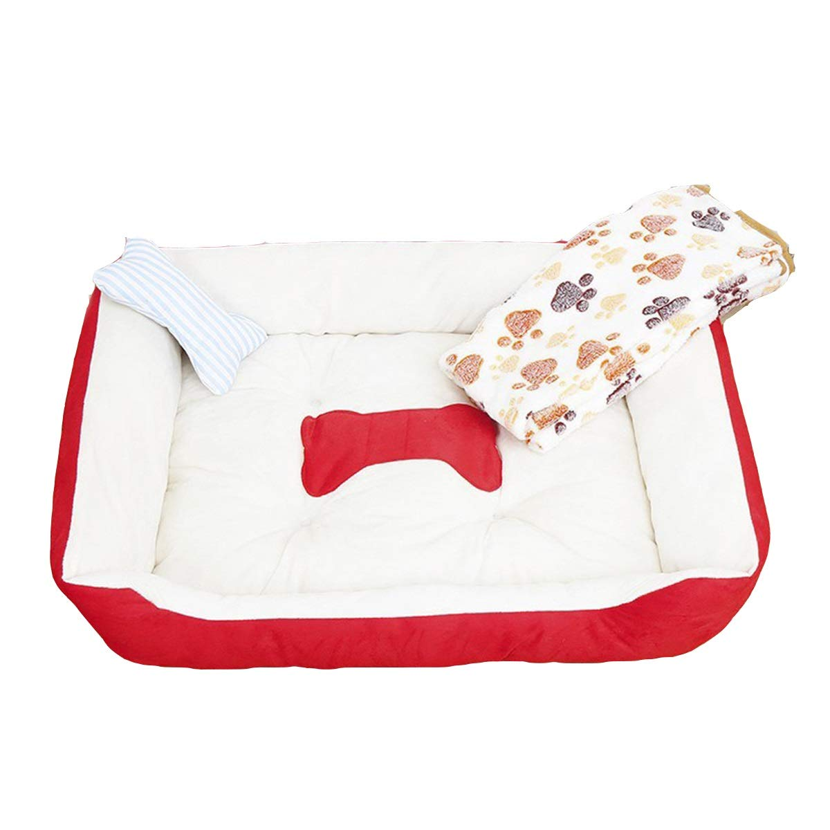 Red M red M Xingganglengyin Kennel, Small Medium Dog Cat Litter, Four Seasons Universal, Pet Kennel Mattress, Four Seasons Universal, 3 Piece Set, bluee, Pink, Red (color   Red, Size   M)