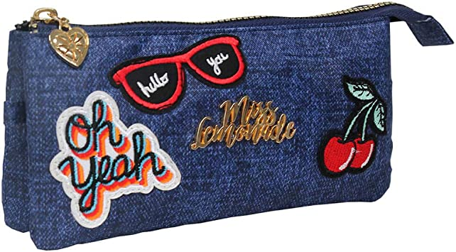 Miss Lemonade Denim Patches - Estuche Escolar, Portatodo con 3 Compartimentos, Cremallera, Tela Vaquera con Parches Bordados. Dim. 22 x 12 x 3 cm (Opi Brands 62834): Amazon.es: Equipaje
