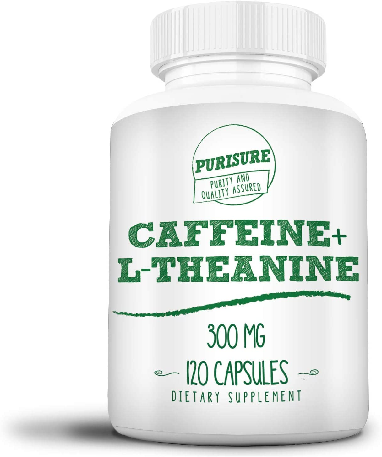 Caffeine + L-Theanine 300 mg (120 Capsules), No Crash or Jitters, Alert and Productive, Calm and Relaxed, Nootropic Supplement (120 Capsules): Health & Personal Care