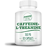 Purisure Caffeine + L-Theanine 300 mg (120 Capsules) No Crash or Jitters Alert and Productive Calm and Relaxed Nootropic…