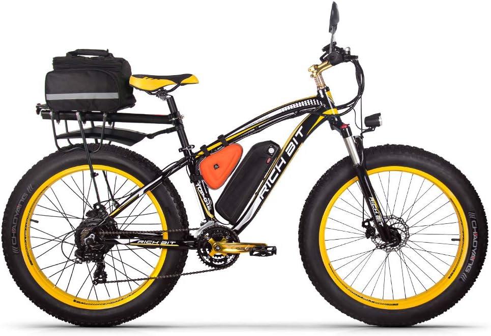 Rich bit RT022 - Bicicleta eléctrica híbrida para Hombre de montaña (1000 W, 48 V, 17 A, Soporte de Carga USB LCD Inteligente y neumáticos Grandes)