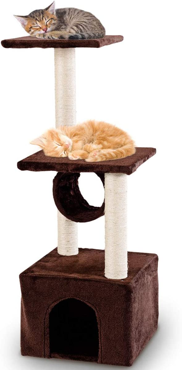 PETSJOY Cat Tree Condo with Scratching Posts Cat Platforms, Deluxe Cat Tower Kitten Play House