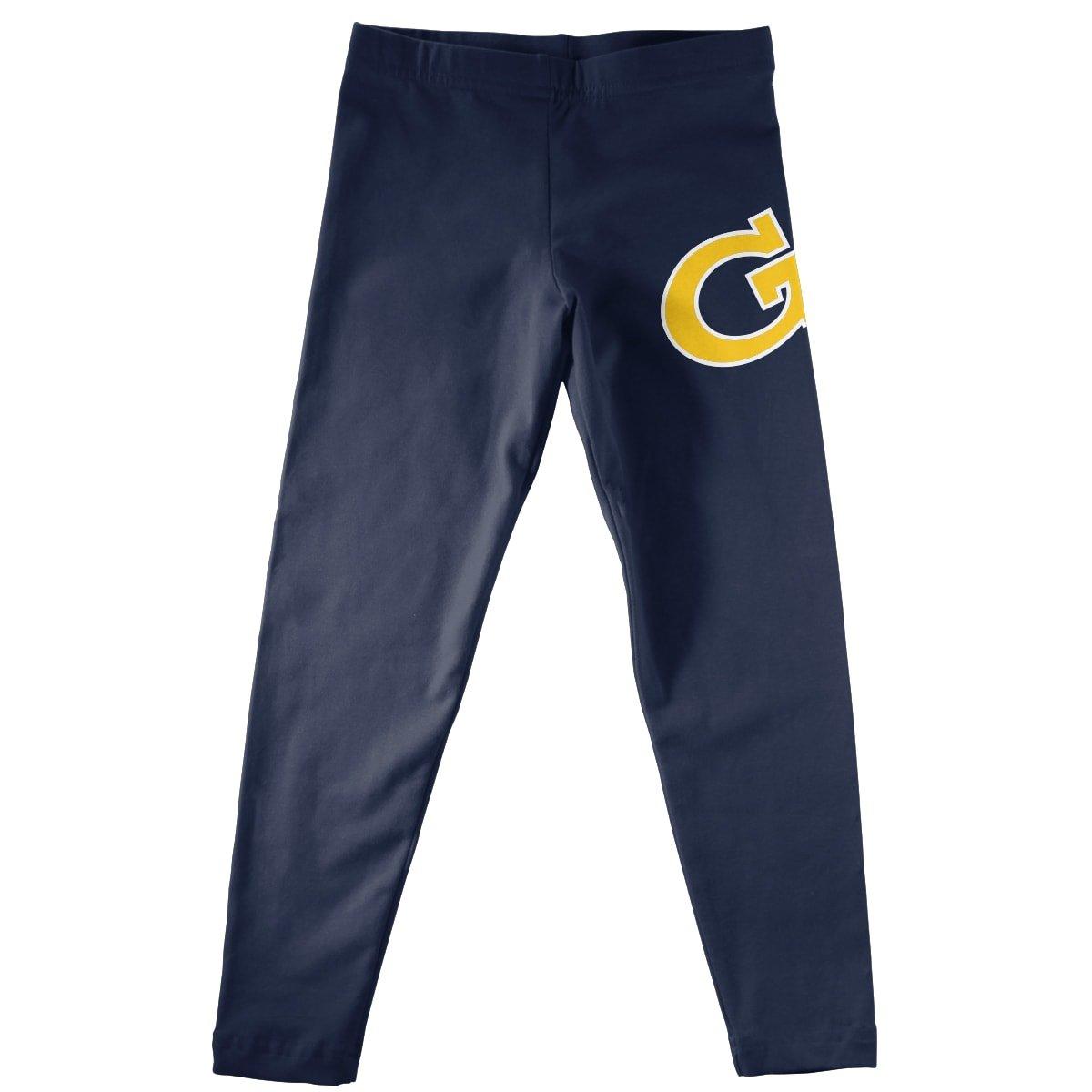 Vive La Fete Collegiate GA Tech Yellow Jackets Solid Navy Leggings