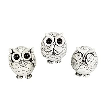 FAMICOZY Owl Figurine with Different Gestures,Cute Owl Statue,Adorable Decoration for Home Office Set of 3,White