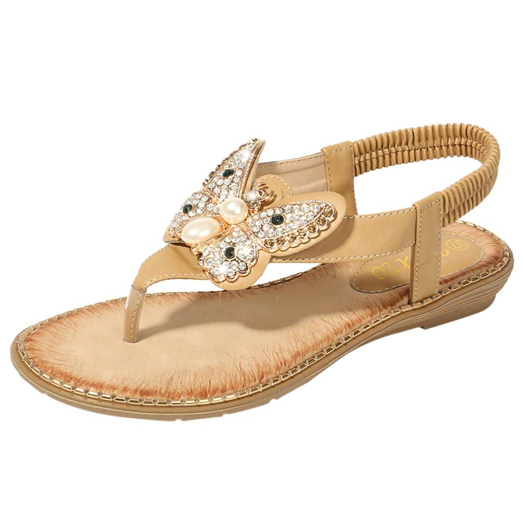 Tantisy ♣↭♣ Women's Creative Crystal Bowknot Bohemian Sandals/Elastic Band/Slip-on Ladies Casual Flat Beach Shoes Khaki