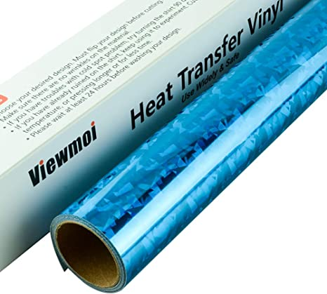 Holographic Heat Transfer Vinyl Roll 12 inches x 5 Feet Iron on Vinyl HTV for DIY T-Shirts or Fabrics Holographic Blue