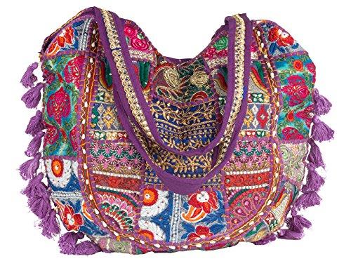Tribe Azure Floral Tassel Large Handmade Shoulder Bag Tote Top Handle Women Fashion Roomy School Books Boho Hippie Market Travel Everyday Casual (Purple) (Sequin Hobo Tote Bag)