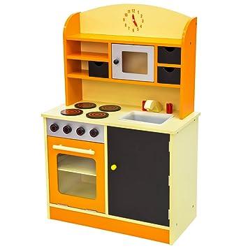 TecTake Cocina de madera de juguete para niños juguete juego de rol toy naranja