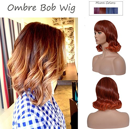 Short Bob Omber Wigs with Bangs Synthetic Straight or Curly Colorful Cosplay Party Wig for (Womens Halloween Costume Ideas 2017 Uk)