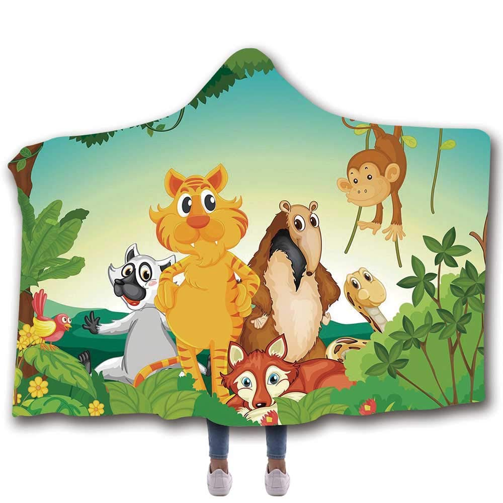 MOOCOM Zoo Durable Hooded Blanket,Forest Scene with Different Animals Habitat Jungle Tropical Environment Kids Cartoon Decorative for All Seasons,60'' W x 50'' H