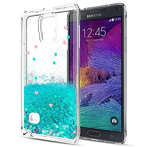 Galaxy Note 4 Liquid Case with HD Screen Protector for Girls Women,LeYi Cute Design Shiny Glitter Moving Quicksand Clear TPU Protective Phone Case Cover for Samsung Galaxy Note 4 ZX (Cell Phone Covers For Samsung 4)