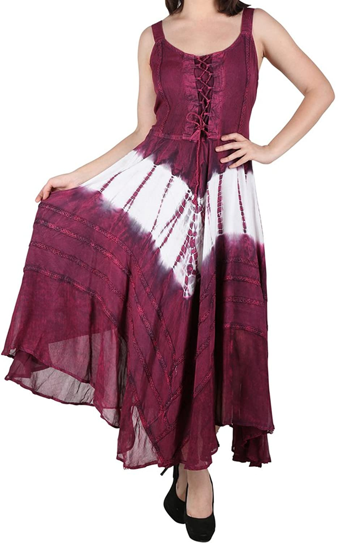 Lapogee Inc womens stonewashed Tie Dye Rayon Long Dress