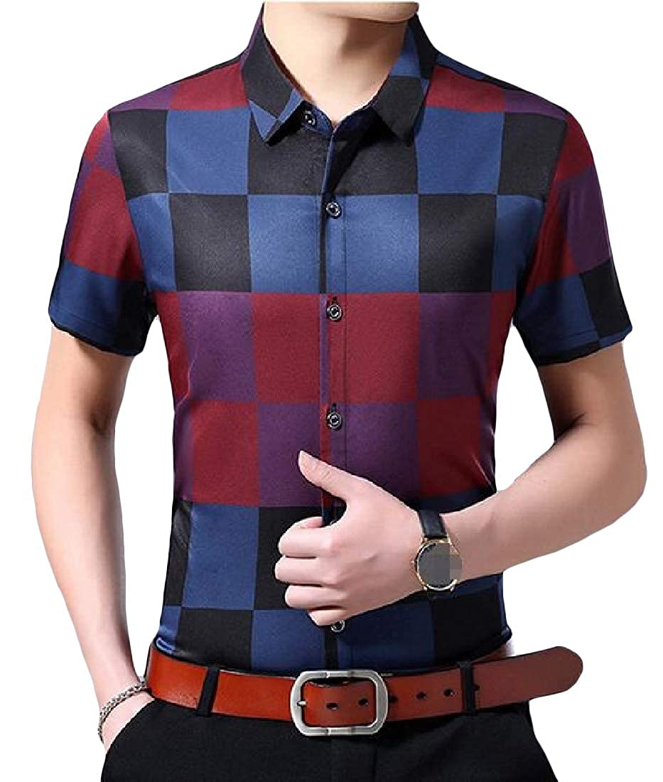 Lutratocro Men Classic Fit Buffalo Checkered Short-Sleeve Button Down Shirts