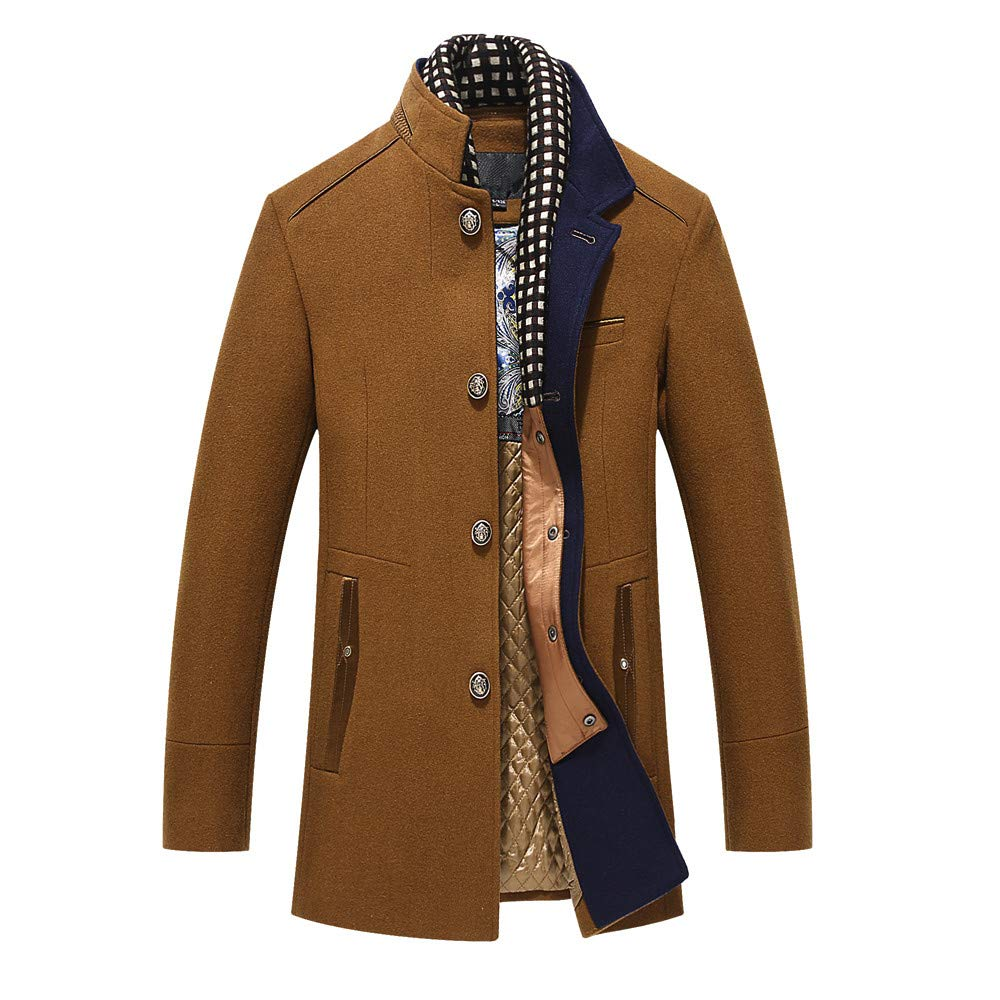 Gallity Mens Jackets Lightweight Slim Fit Button Up Designed Overcoat Coat Outdoor (L, Khaki)