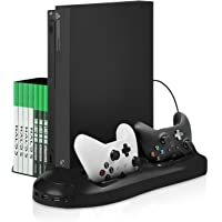 Xbox One X Stand - Younik Vertical Stand Cooling Fan, Dual Controllers Charging Station, 7 Slots Game Storage and 3 Port…