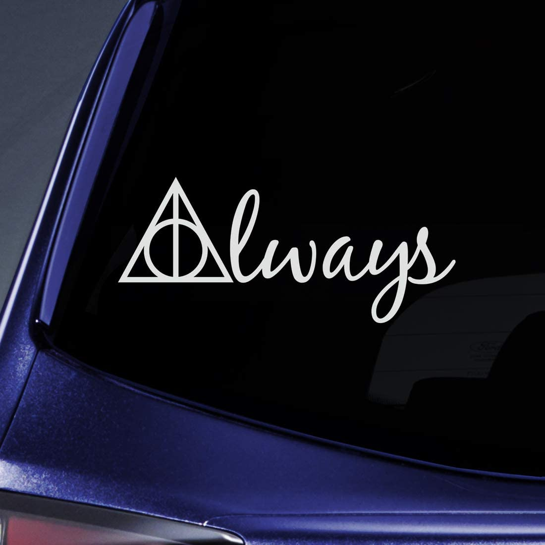 "Bargain Max Decals - Always Deathly Hallows HP Sticker Decal Notebook Car Laptop 8"" (White)"