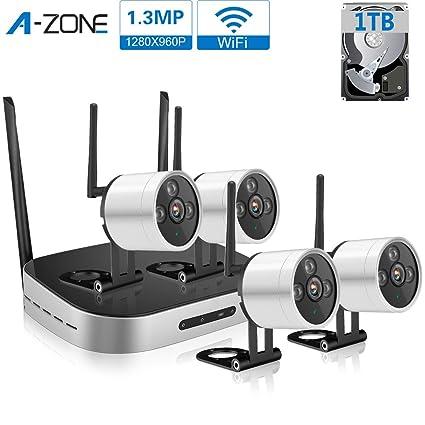 A-ZONE 960P WIFI NVR Kit 4CH sistema de vigilancia al aire libre Inicio CCTV