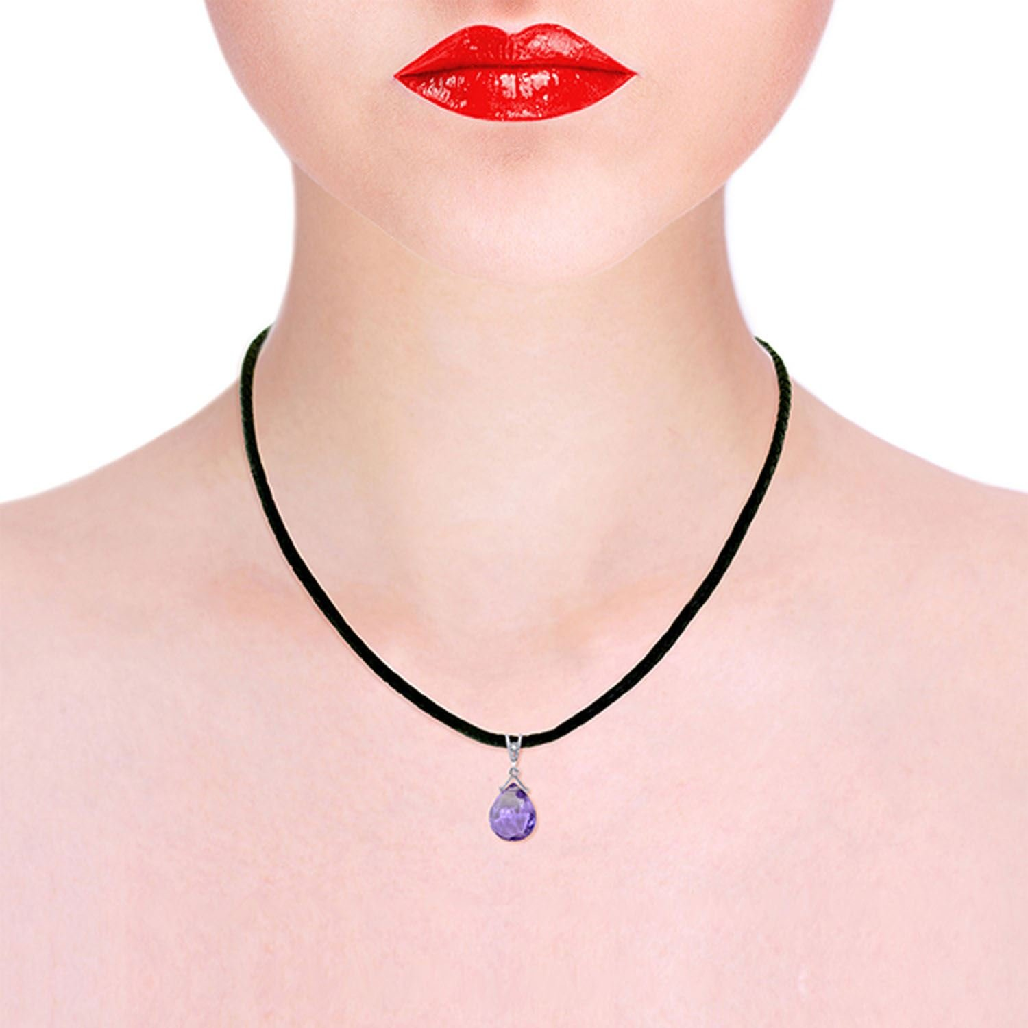 ALARRI 6.51 CTW 14K Solid White Gold Push The Button Amethyst Diamond Necklace with 24 Inch Chain Length