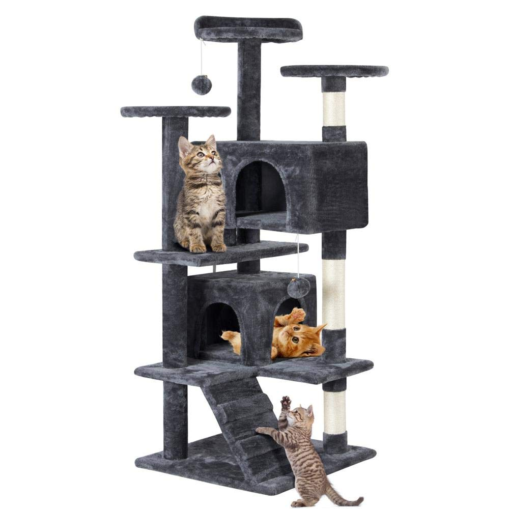 Topeakmart 51 inches Multi-Level Cat Tree Condo with Scratching Posts Kitten Activity Tower Pet Play House (Dark Gray) by Topeakmart