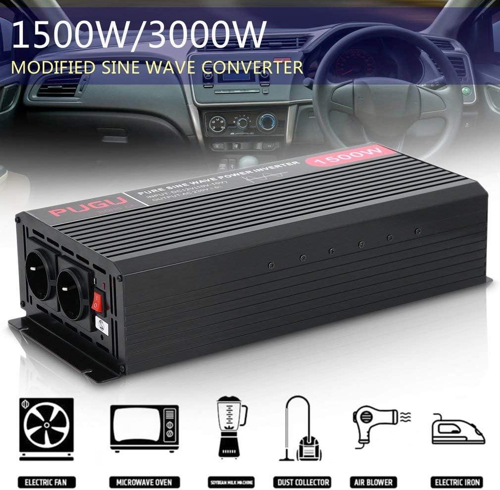 LCD und Kabel FVE Wechselrichter Reiner Sinus 1500W//3000W Watt 12v auf 230v Auto Wechselrichter Umwandler Spannungswandler mit 3 Meter Fernbedienung