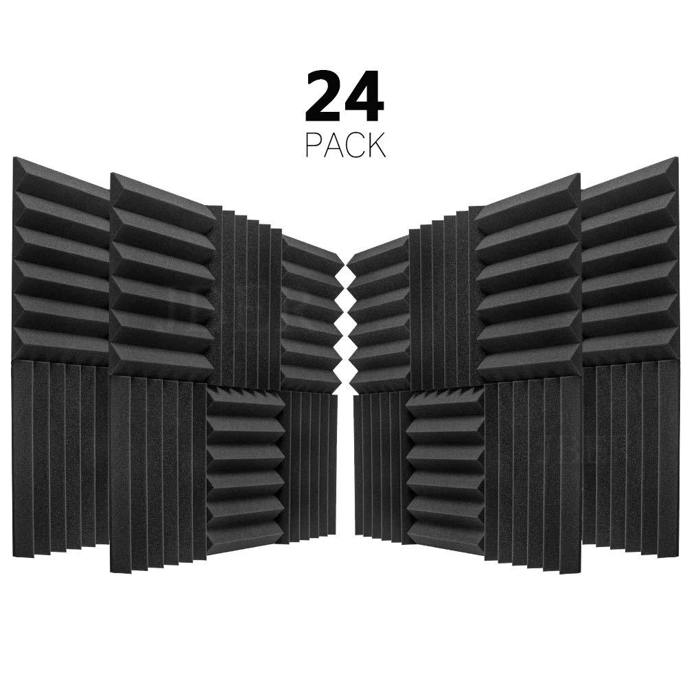 JBER 24 Pack Charcoal Acoustic Panels Studio Foam Wedges Fireproof Soundproof Padding Wall Panels 2'' X 12'' X 12''