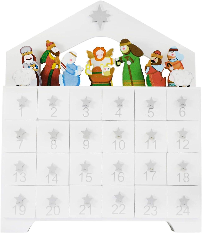 Needzo Wooden Advent Calendar Reusable Premium Countdown to Christmas Traditional Nativity Scene with Doors