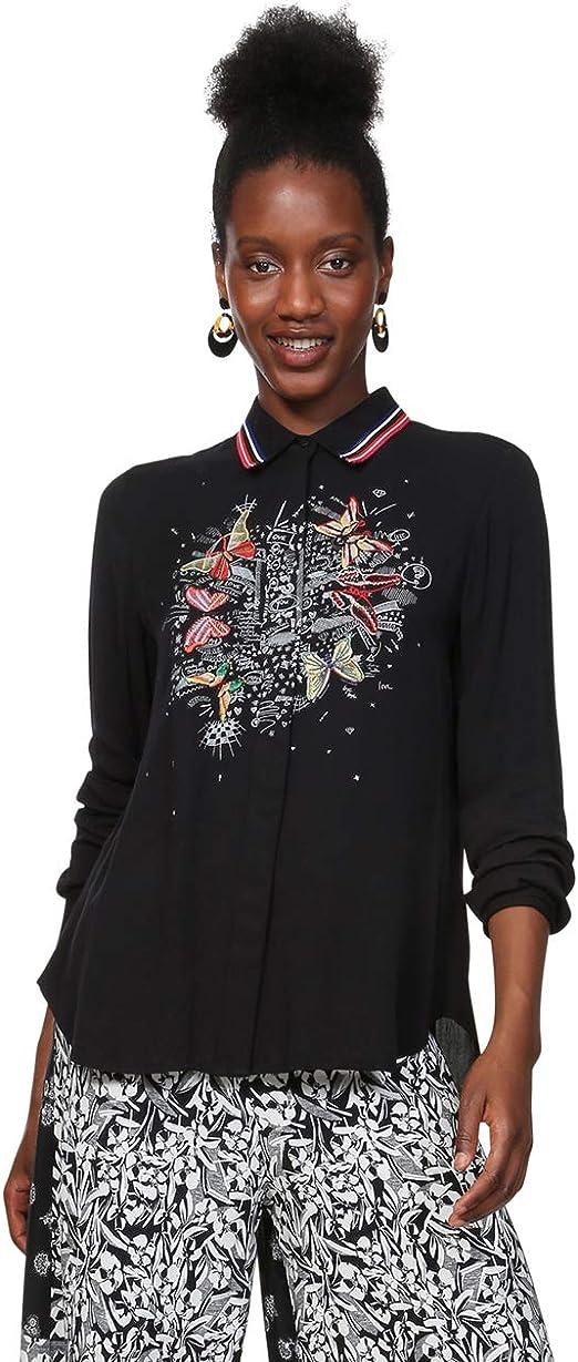 Desigual Shirt Long Sleeve Dinia Woman Black Camisa para Mujer: Amazon.es: Ropa y accesorios