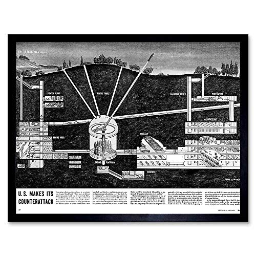 Wee Blue Coo War Drawing Cold Missile Base Nuclear Counter Attack Strike USA Art Print Framed Poster Wall Decor 12x16 inch