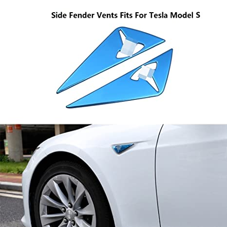 Chebay Side Vent Body Marker Fender Air Wing Decoration Sticker Trim Cover Chrome Fits for Tesla Model S 2012-2018