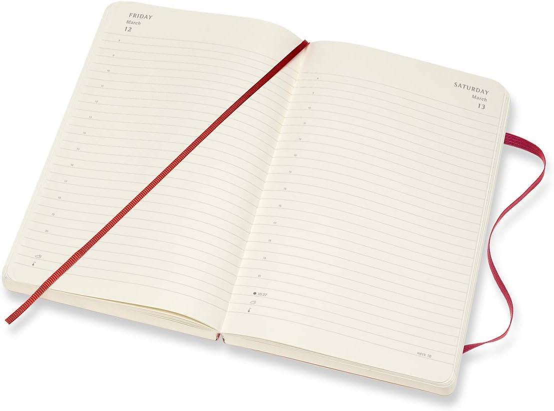 608 Pagine Formato Large 13 x 21 cm Agenda Giornaliera 18 Mesi 2020//2021 Moleskine Daily Planner Rosso Scarlatto Copertina Rigida e Chiusura ad Elastico