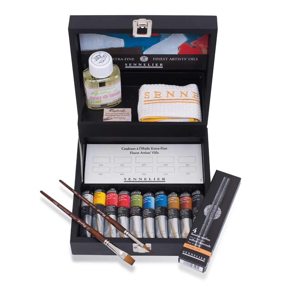 Sennelier Black Wood Set of Artist Oils, Includes Ten 21ml Tubes of Oil Color, Sennelier Cloth, Sennelier Charcoals, Green for Oil Medium, Two Precision Brushes, Honey Soap (10-130 by SENNELIER